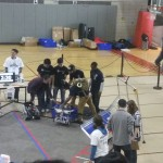 Jamaica College Robotic Team Setting up for a match