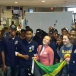 Jamaica College Robotic Team Sharing a moment with members of other teams